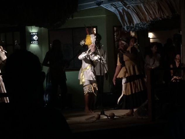 A dancer in traditional ceremonial garb sometimes accompanied the music.