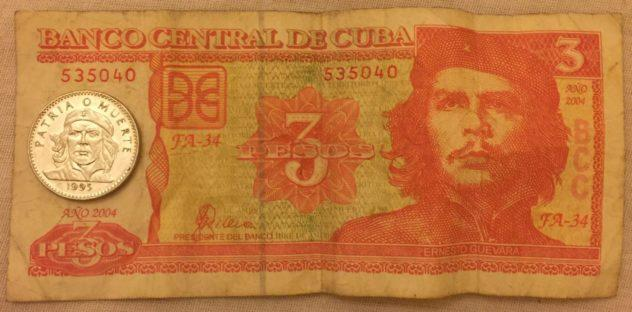 3 Cuban pesos as both a coin and a bill.