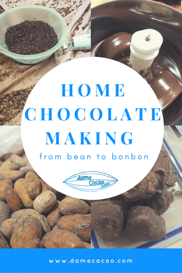 A quick lesson in home chocolate making from a certified chocolate maker. Learn how to use cacao beans and sugar and milk powder to make delicious, healthy chocolate in your own home, recipe included! | #chocolate #chocolat #DIY #homemade #recipe #making #unique #activity #activities #beantobar #craft #cacao #cocoa #beans #recipe #butter #milk #at #home
