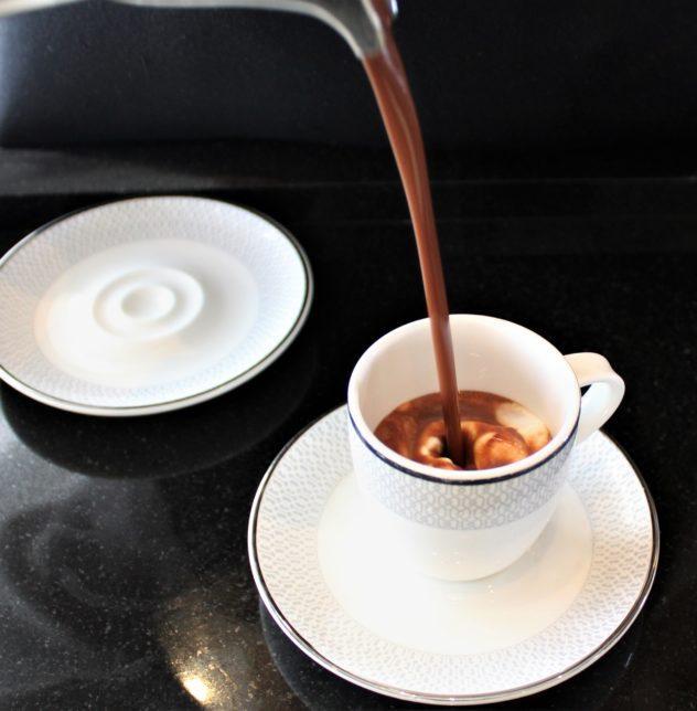 sukhothai lobby salon chocolate buffet pouring hot chocolate
