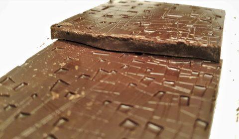 Raaka Strawberry Basil Chocolate Front of Bar Closeup