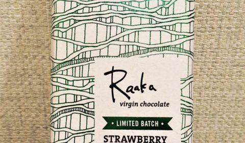 Raaka Chocolate Strawberry Basil Front of Bar Packaging