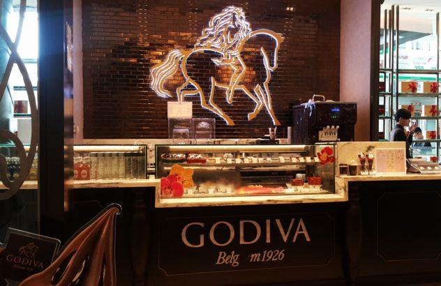 Godiva storefront in a mall in Bangkok