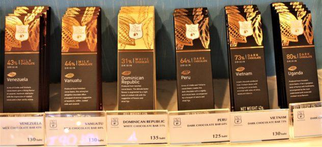 Duc de Praslin single-origin chocolate bars in a mall in Bangkok, Thailand