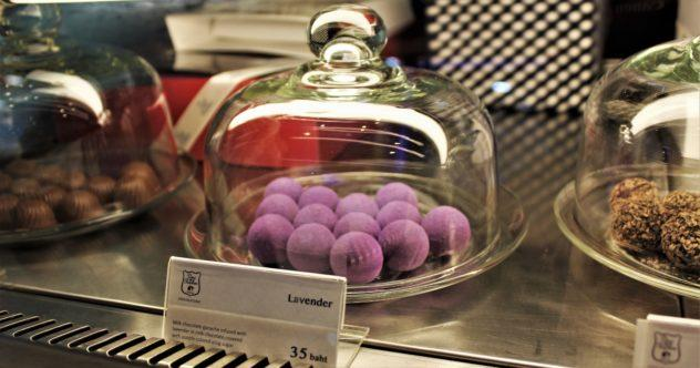 Duc de Praslin lavender truffles in a mall in Bangkok, Thailand