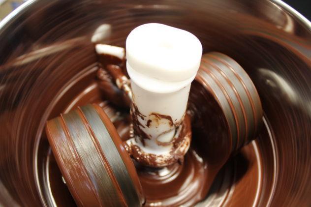 Refining Venezuelan chocolate in a grinder