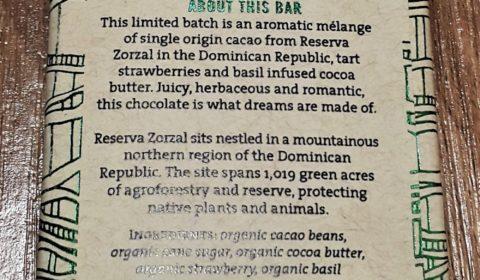 Raaka Strawberry Basil Chocolate Back of Bar Packaging
