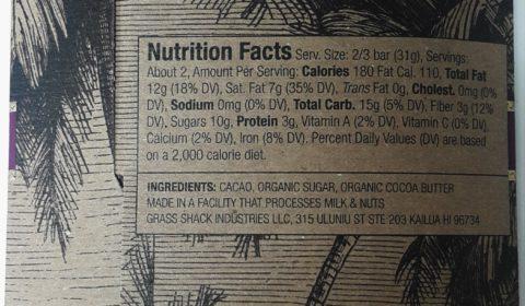 Manoa Hilo Island Chocolate Back of Bar Packaging