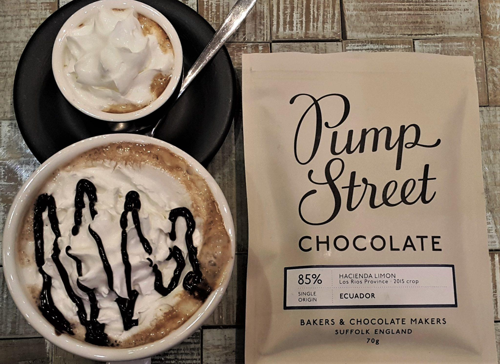 Pump Street Bakery Chocolate Ecuador Hacienda Limon 85% Front of Bar Packaging with Coffee