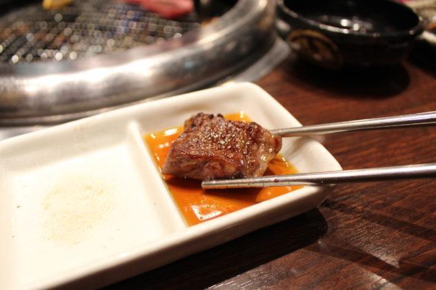 Affordable Kobe beef in Kobe shot of meat dipped in sauce