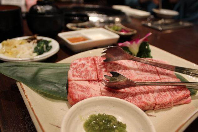 Affordable Kobe beef in Kobe shot of marbles meat with tongs