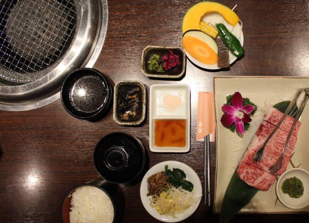 Affordable Kobe beef in Kobe overhead shot of meal