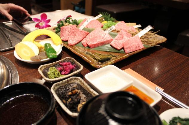 Affordable Kobe beef in Kobe overview shot of meal