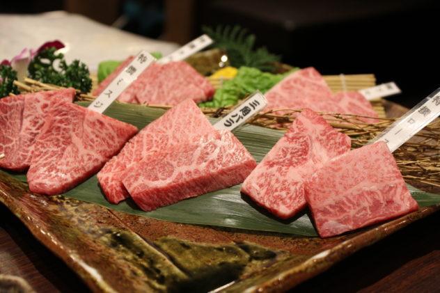 Affordable Kobe beef in Kobe shot of marbled meat