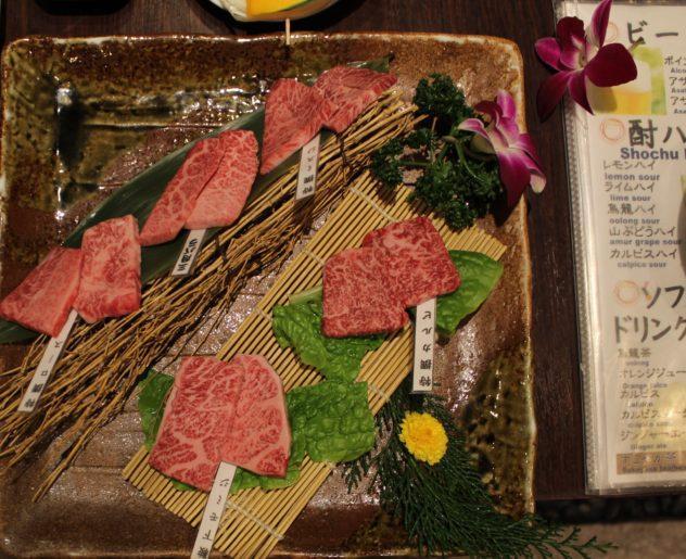 Affordable Kobe beef in Kobe overhead shot of marbled meat