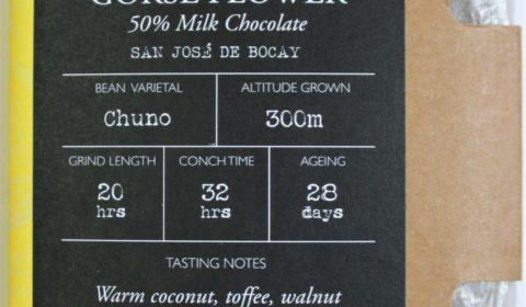Craft chocolate bar review chocolarder gorse flower 50% milk chocolate front of bar packaging