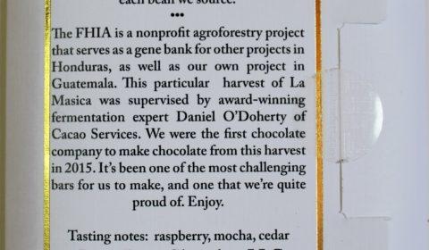 Letterpress chocolate los angeles American Chocolate Honduran Cacao La Masica Back of Bar Packaging