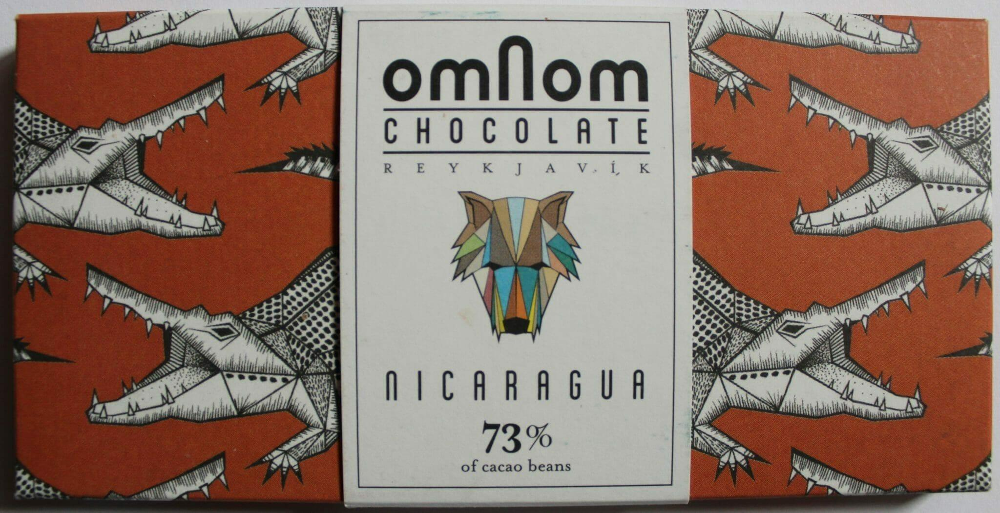 Craft Chocolate Review Omnom Icelandic Nicaragua Cacao 73% Front of Bar Packaging