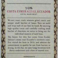 Craft Chocolate Review Dandelion Costa Esmeraldas 70% Front of Bar Packaging