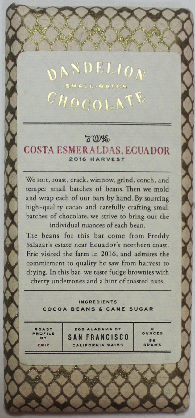Craft Chocolate Review Dandelion Costa Esmeraldas 70% Front of Bar Packaging