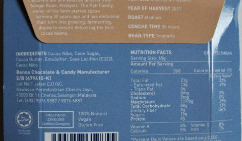 Craft Chocolate Review Benn's Malaysia 72% with Nibs Back of Bar Packaging