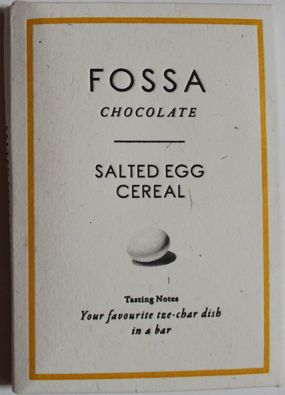Craft Chocolate Review Fossa Salted Egg Cereal Bar Front of Bar