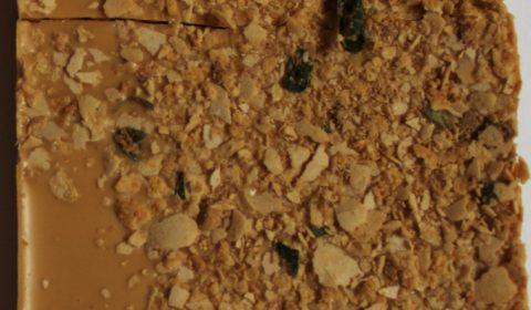 Craft Chocolate Review Fossa Salted Egg Cereal Bar Back of Bar Inclusions