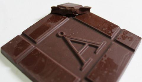 Craft Chocolate Review Akesson Brazil 75% With Coffee Front of Bar Closeup