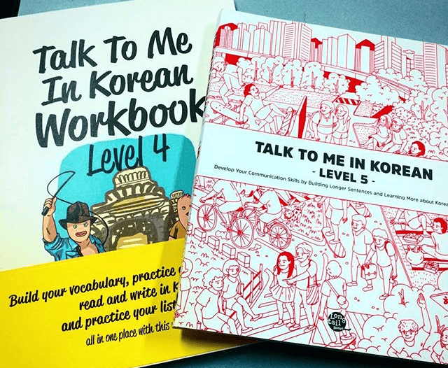 My latest round of Talk To Me In Korean Books.
