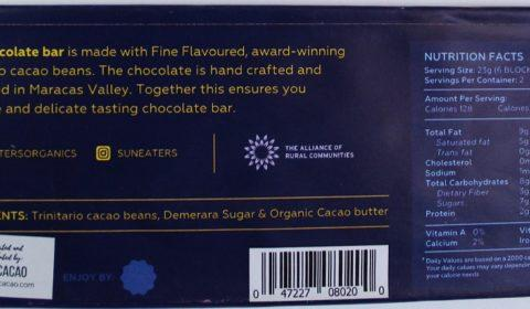 Craft Chocolate Review Sun Eaters 80% Back of Bar Packaging