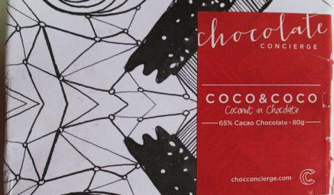 Craft Chocolate Review Chocolate Concierge 65% Coconut Front of Bar Packaging