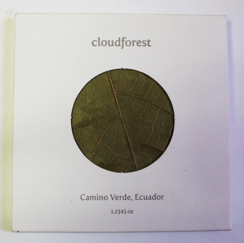 Craft Chocolate Review cloudforest 70% Camino Verde Front of Bar Packaging