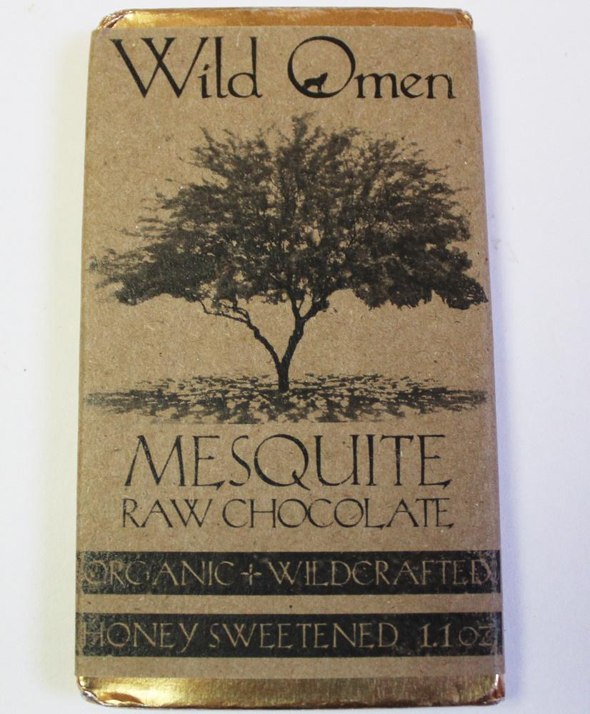 Craft Chocolate Review Wild Omen Mesquite Raw Chocolate Front of Bar Packaging