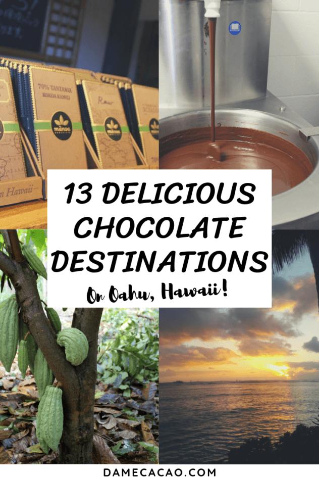 Hawaiian Chocolate: Big Island Cacao Farm Tours & Chocolate Shops pinterest pin 2 with various farm photos