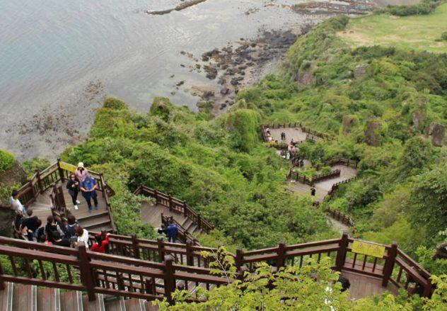 One view from the top of Seongsan Ilchulbong | #travel #korea #jeju #island #itinerary