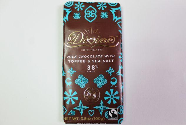 Divine Chocolate Toffee and Sea Salt Milk Craft Chocolate Bars from Whole Foods