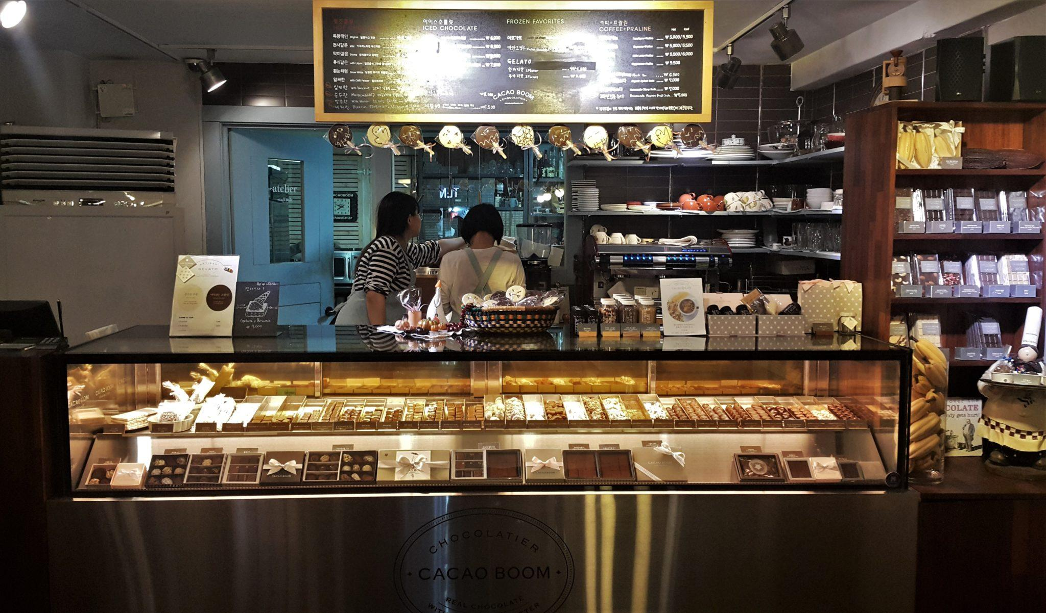 cacao boom seoul hongdae chocolate shop truffles display case